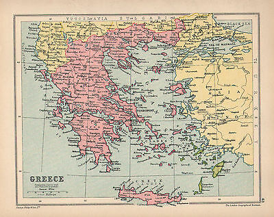 1934 MAP ~ GREECE ~ MOREA CRETE