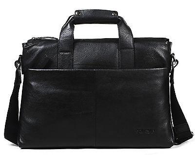 """Men's Leather Business Attache Case 16"""" Laptop Briefcase Satchel Messenger Bag"""