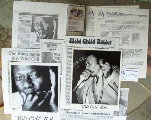 "BLUES PRESS KIT with 8x10 PHOTOS & TAPE: GEORGE ""WILD CHILD"" BUTLER harmonica"