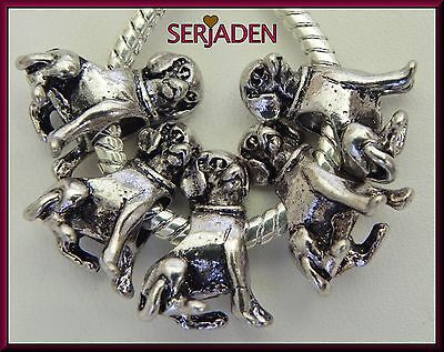 5 Antique Silver Dog Charm Bead for Charm Bracelet / Necklace Ship from USA S075](Dog Charms For Bracelets)