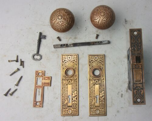 Antique Set EASTLAKE VICTORIAN Backplates Door Knobs Ornate Mortise Lock w/ Key
