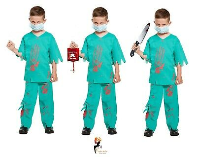 Kids Surgeon Costume (Boys ZOMBIE SURGEON Kids Doctor Scrubs Halloween Fancy Dress Costume)