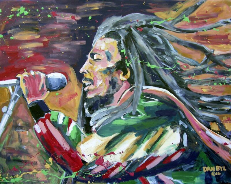 Original Bob Marley Reggae Art Painting Artist Dan Byl Celebrity Huge 4x5ft