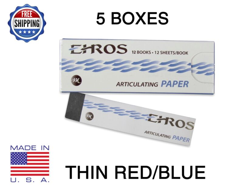 """5 BOXES DENTAL ARTICULATING PAPER THIN (0.003"""") RED/BLUE 780 Sheets  MADE IN USA"""