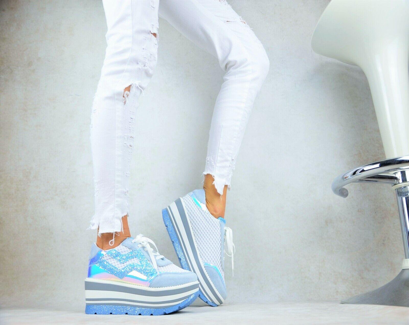 SEXY Damenschuhe Elegant XXL Plateau Metallic Glitzer Freizeitschuhe Sneaker