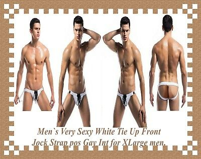 Men`s Very Sexy White Tie Up Front Jock Strap pos Gay Int for XLarge men.