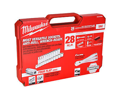"Milwaukee 48-22-9408 3/8"" Drive SAE Ratchet/Socket Mechanics Tool Set (28-Pc)"