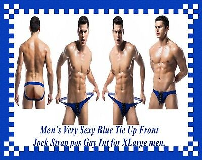 Men`s Very Sexy Blue Tie Up Front Jock Strap pos Gay Int for XLarge men.
