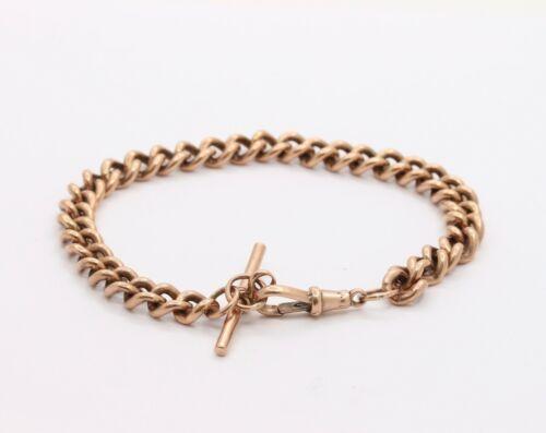 Antique 9K Rose Gold Curb Link Bracelet with Dog Clip