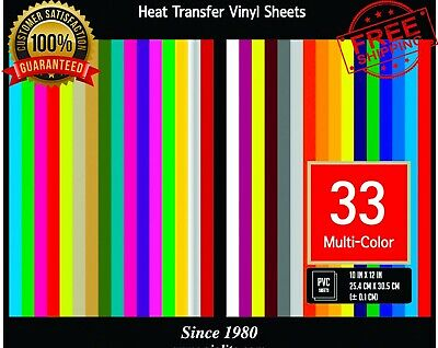 Pvc Heat Transfer Vinyl 33 Htv Assorted Colors Bundle Heat Press 10x12