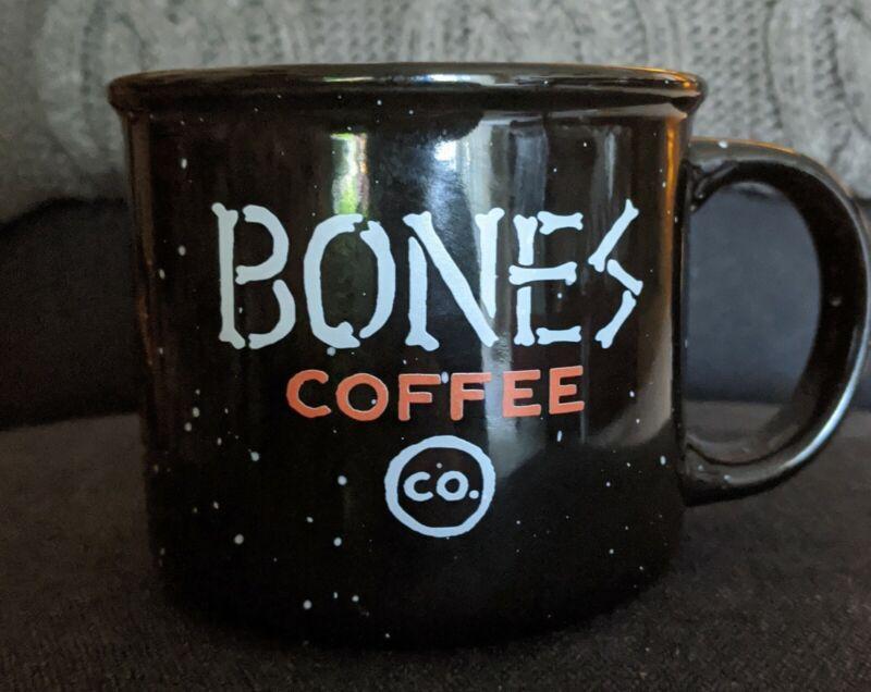 BONES COFFEE CERAMIC MUG BLACK SPECKLED COLLECTABLE NEVER USED
