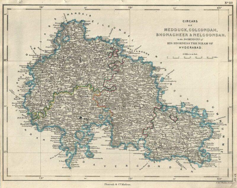1854 Pharoah Map of the Hyderabad, Sangareddy and Nalgonda Districts, India
