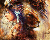 Poster 37x29 Cm Pintura India Leon Animal Painting Indian Lion -  - ebay.es