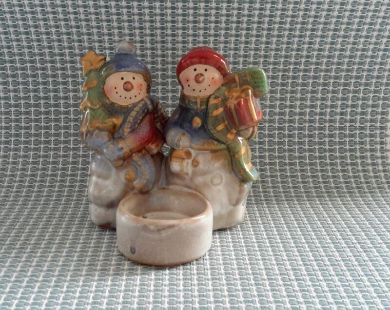 Snowman Family Christmas Winter Figurine Candle holderTea Light Holder Decor