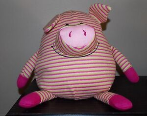 MUSHABLE POT BELLIES Pink Green Striped Pig Piggy Plush Microbead 12