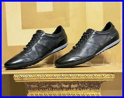 NEW VERSACE COLLECTION BLACK PERFORATED LEATHER SNEAKERS 42 - 9