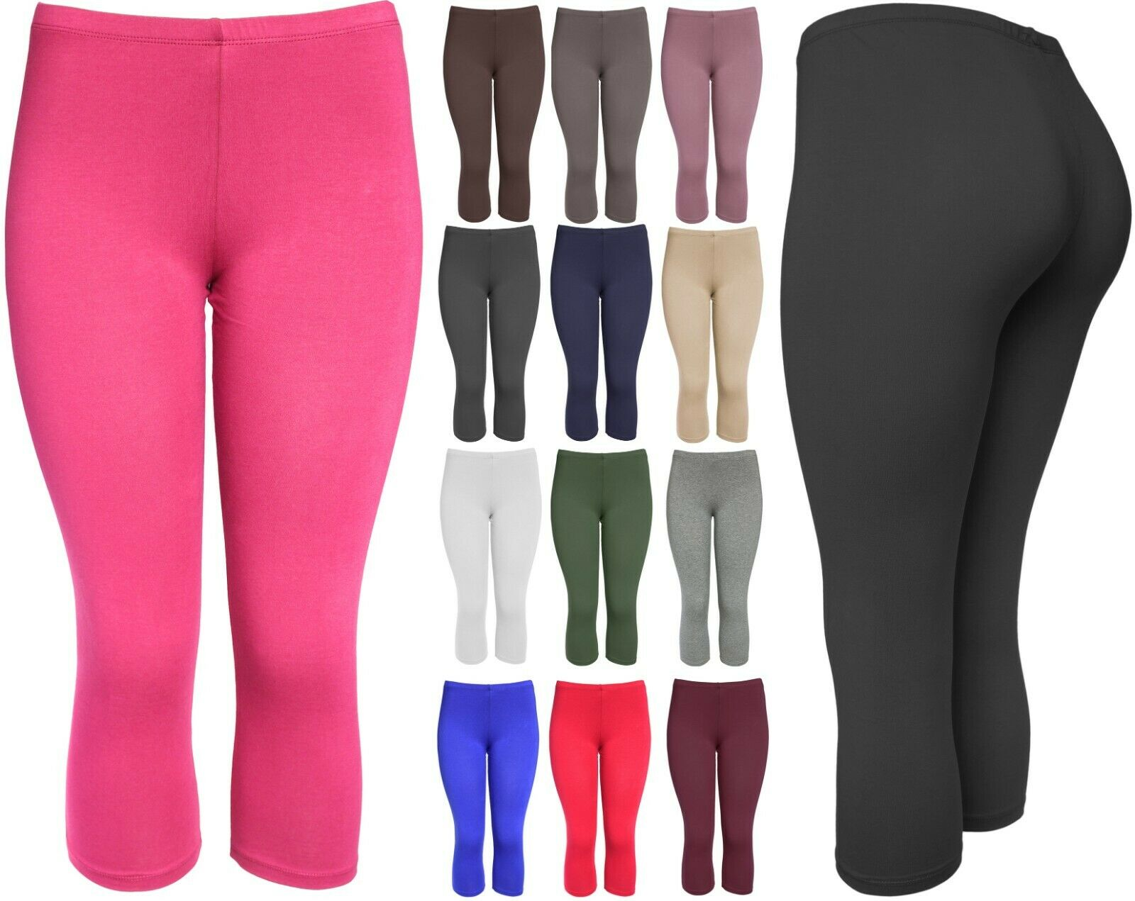 Women's Basic Cotton Solid Capri Leggings S-3XXL Clothing, Shoes & Accessories