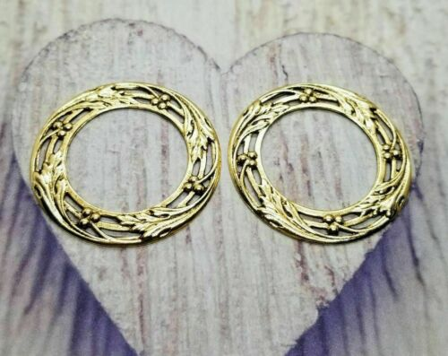 Large Brass Ornate Wreath Findings x 2 - 5967S