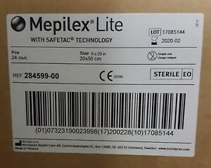 Mepilex Lite Thin Foam Dressing 8 x 20 Box with 4 284599-00