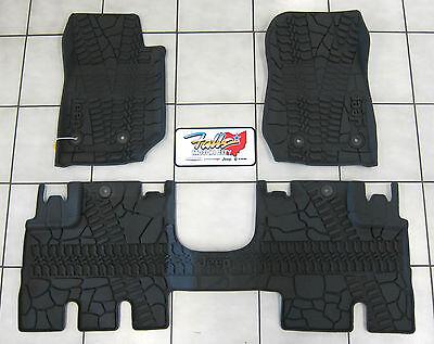 2014-15 Jeep Wrangler JK Unlimited All Weather Rubber Slush Floor Mat Set Mopar