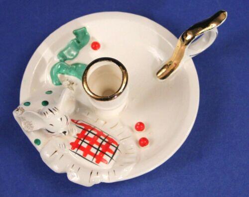 Vintage 1958 Holt Howard Sleeping Mouse Christmas Candle Holder