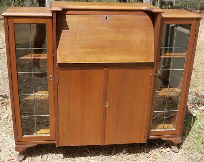 Antique Secretary Cabinet with Desk and Key