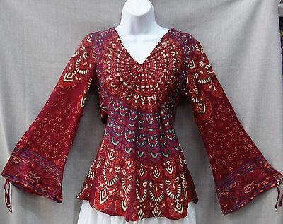 Indian Womens Ladies Flower Power Hippie Boho Shirt Top Rayon MAROON (Flower Power Hippie)