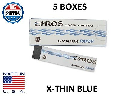 5 Boxes Dental Articulating Paper Extra X-thin Blue 780 Sheets Made In Usa