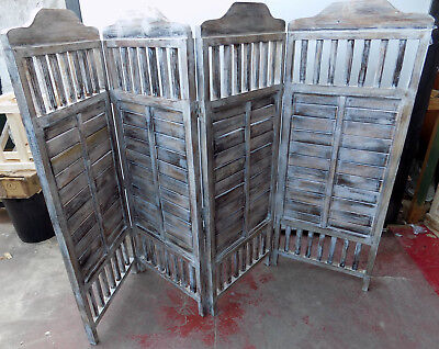 Folding screen Room divider wooden albesia white pickled finish made hand