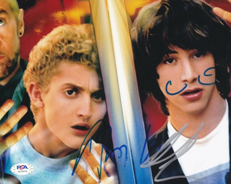 Keanu Reeves Alex Winter Signed 8x10 photo Bill and Ted's Excellent PSA DNA