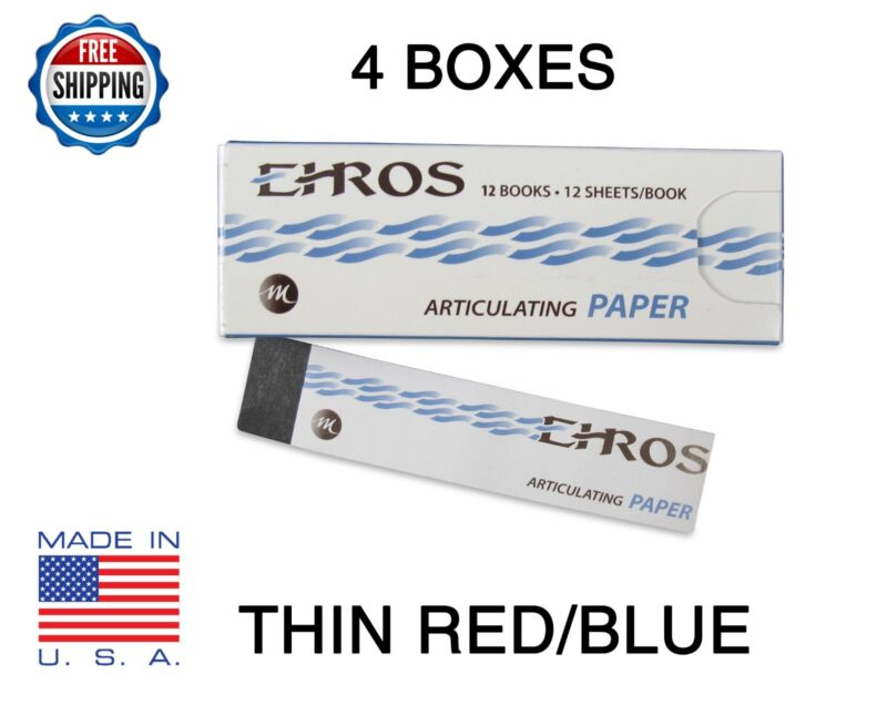 """4 BOXES DENTAL ARTICULATING PAPER THIN (0.003"""") RED/BLUE  576 Sheets MADE IN USA"""