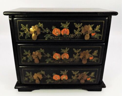 Vintage Jewelry Chest Shanghai Chinese Three Drawer Black Lacquered Hand Painted