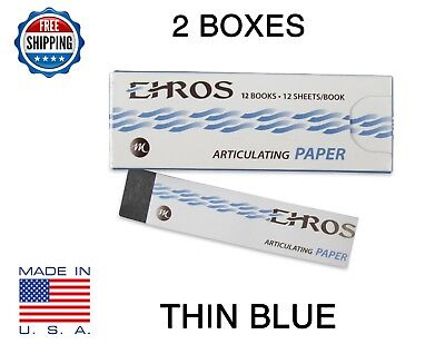 2 Boxes Dental Articulating Paper Thin 0.003 Blue 288 Sheets Made In Usa