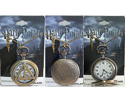 NEW Harry Potter Deathly Hallows POCKET WATCH NECKLACE w/ Lightning Bolt Charm