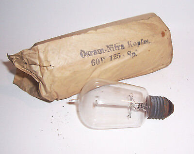 Ancient Osram 120 V Charcoal Thread Light Bulb with Lace before 1945! (nr.2