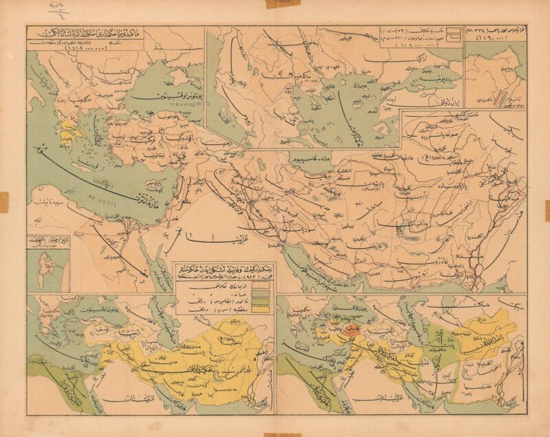 1930 Map of the Middle East in Ottoman Turkish