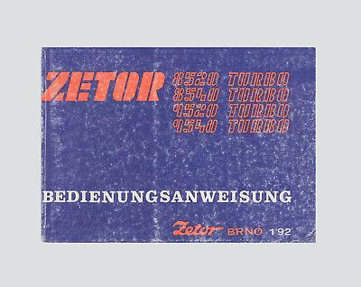 Zetor Traktor Bedienungsanweisung 8520, 8540, 9520 9540 Original 1992 na sprzedaż  Wysyłka do Poland