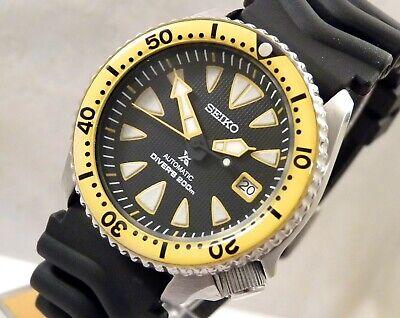 Seiko Ceramic New Monster Prospex Black Yellow Diver Automatic Watch Custom 7002