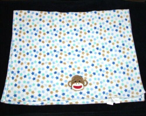 Baby Starters Sock Monkey Face Blanket White Blue Tan Green Stars Security Lovey