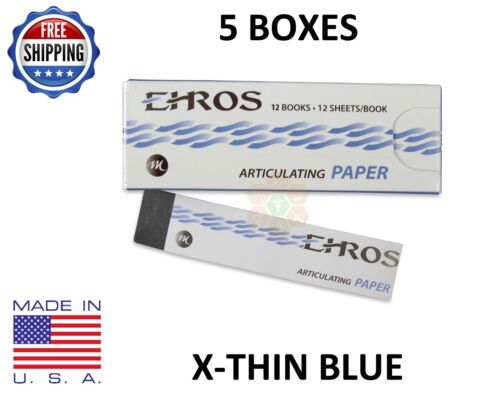 5 BOXES DENTAL ARTICULATING PAPER (EXTRA) X-THIN BLUE  780 Sheets  MADE IN USA
