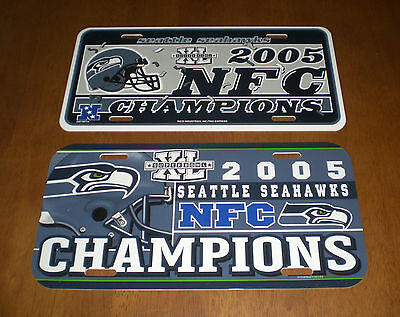 2 2005 SEATTLE SEAHAWKS NFC CHAMPIONS LICENSE PLATES - SUPER BOWL XL - NEW