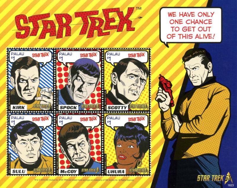 Palau+Stamps+2016+MNH+Star+Trek+50th+Anniv+Kirk+Spock+Leonard+Nimoy+6v+M%2FS