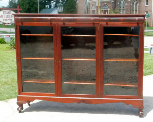 Mahogany Three Door Bookcase~~Adjustable Shelves circa1900