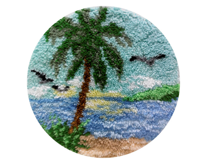 "Palm Tree 18"" Round Latch Hook Rug Kit"