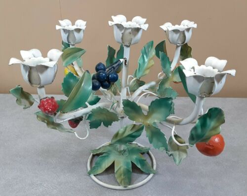 Superb Vintage Italian Toleware Candle Holder 5-Arm Tole Painted Fruits & Leaves