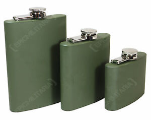 ARMY-GREEN-Stainless-Steel-MILITARY-HIP-FLASK-Pocket-Alcohol-4-6-8oz-All-Sizes