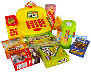 Childrens Yellow Electronic Checkout Cash Register Till Counter Supermarket Toy