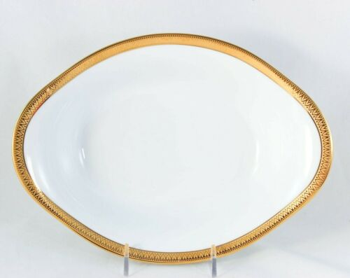 "MALMAISON OVAL VEGETABLE BOWL 10"" HAVILAND PARLON LIMOGES RAISED GOLD ENCRUSTED"