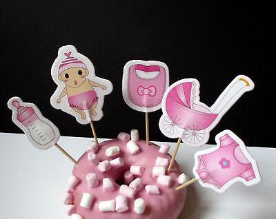 20 Baby Mädchen Geburt Cupcake Muffin Cake Topper picks - Sticks - Kuchen