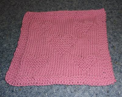 Brand New Hand Knit Cotton Dish Cloth Pink Heart Design For Dog Rescue Charity